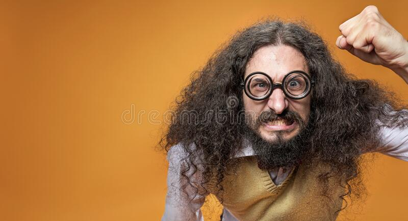 Funy geek is getting angry stock photo