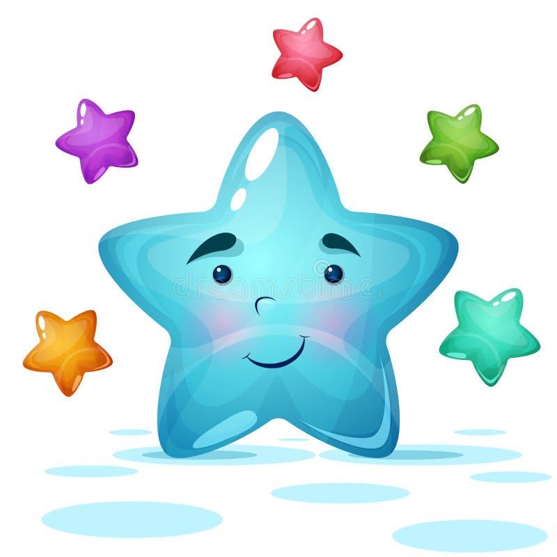 Funy, nette Illustration des blauen Sternes vektor abbildung