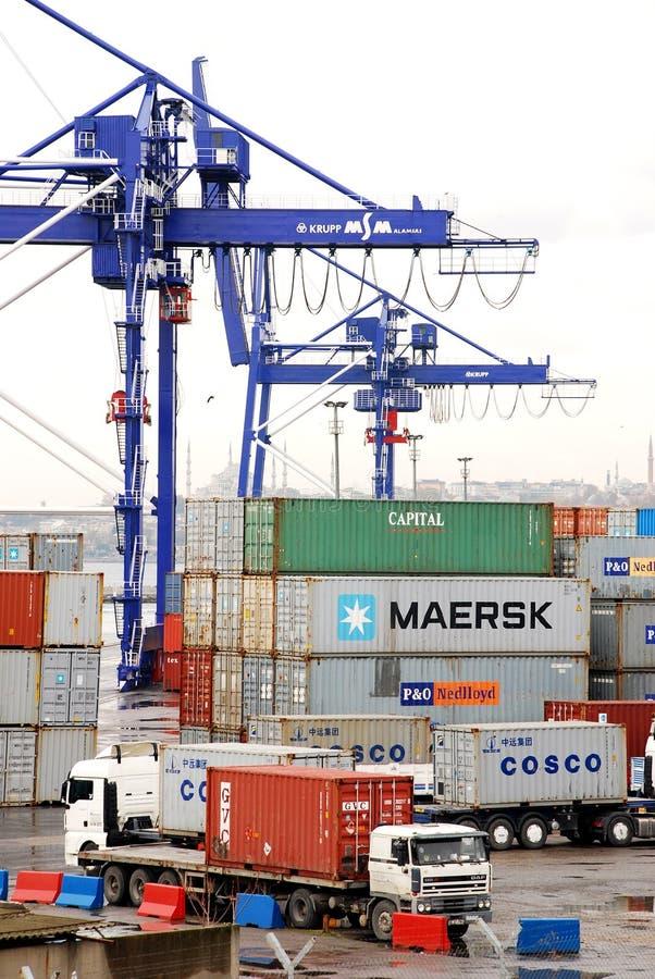 Funzionamenti del carico su una nave porta-container immagine stock
