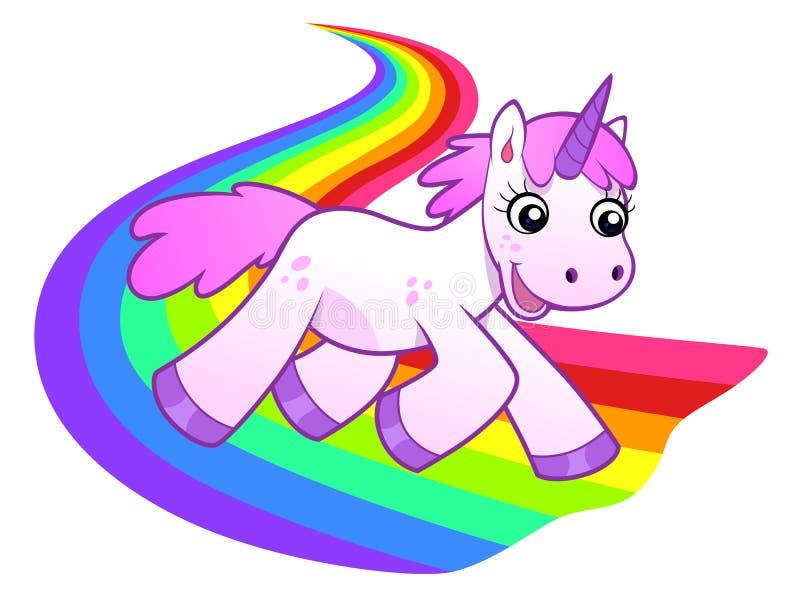 Funzionamenti dell'unicorno sull'arcobaleno illustrazione vettoriale
