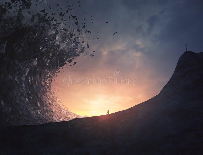 Funzionamenti dell'uomo dal grande tsunami fotografia stock