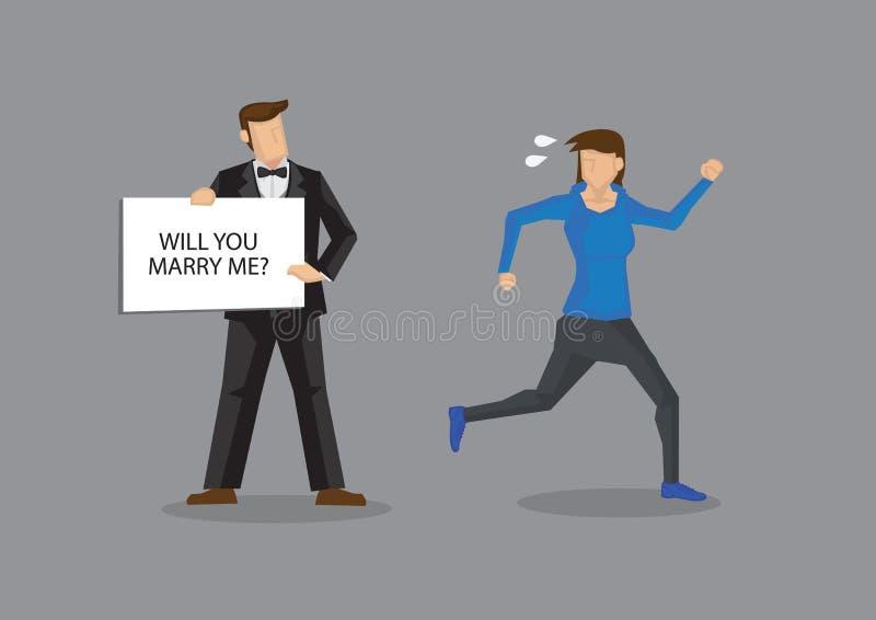 Funzionamenti della donna a partire dall'illustrazione di vettore del fumetto di matrimonio illustrazione di stock
