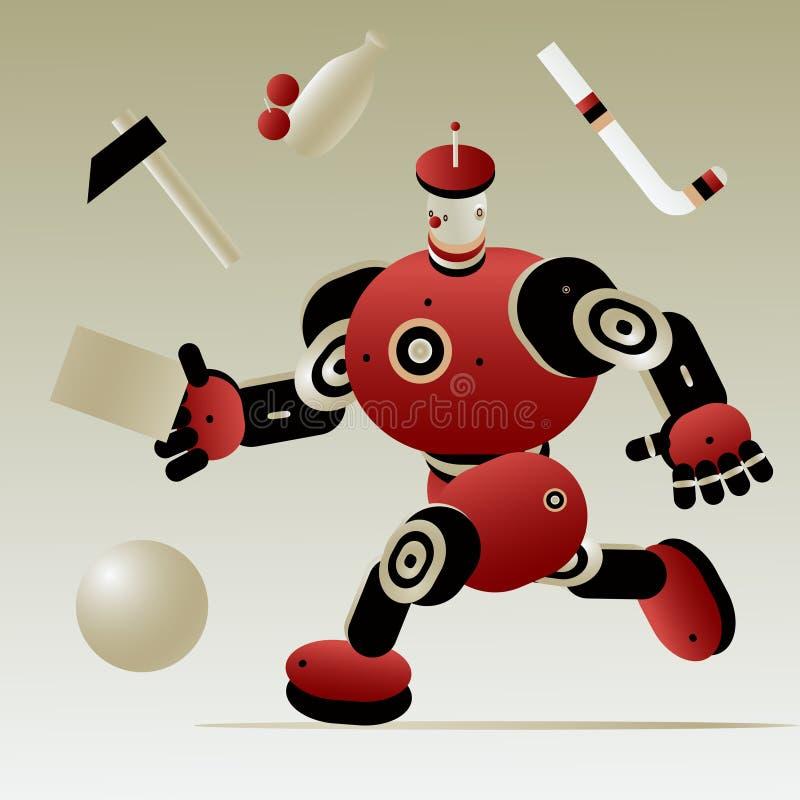 Funzionamenti di aiuto di intelligenza artificiale del robot del fattorino amichevole del corriere con una lettera il carattere d illustrazione di stock