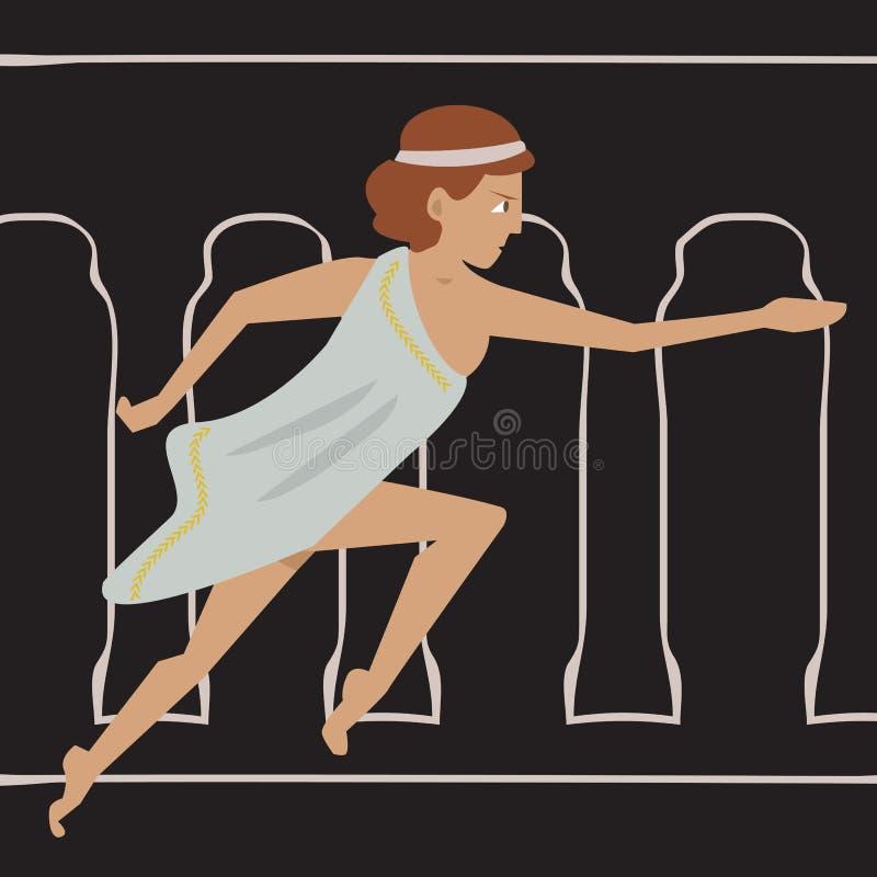Funzionamento antico dell'atleta femminile royalty illustrazione gratis