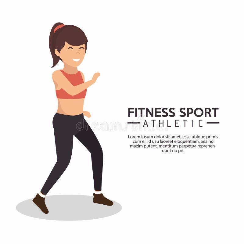 Funzionamento atletico della donna di sport di forma fisica illustrazione vettoriale