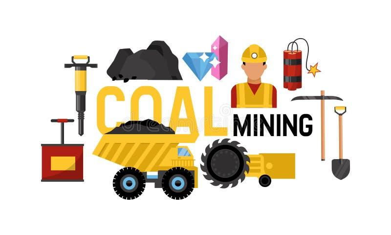 Funzionamento carboniero di trasporto sull'illustrazione di vettore del camion pesante In valle estraente con le rocce del carbon illustrazione di stock