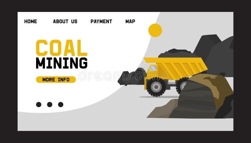 Funzionamento carboniero di trasporto sull'illustrazione di vettore del camion pesante In valle estraente con le rocce del carbon royalty illustrazione gratis