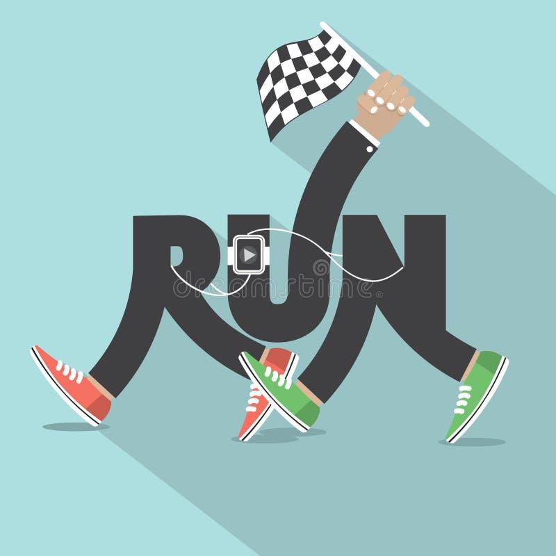 Funzionamento con progettazione di tipografia delle gambe royalty illustrazione gratis