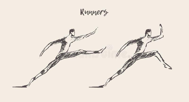 Funzionamento corrente dell'uomo della siluetta disegnata a mano del corridore illustrazione di stock