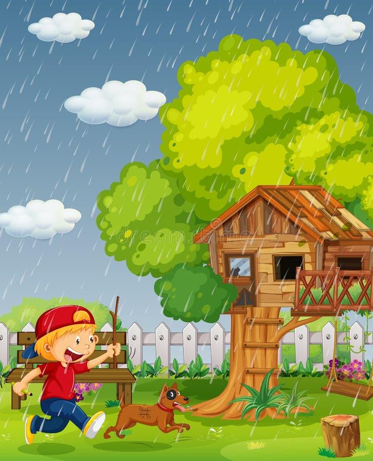 Funzionamento del cane e del ragazzo nel parco il giorno piovoso illustrazione di stock