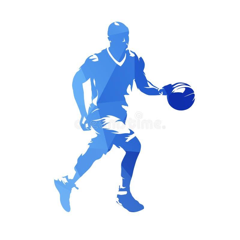 Funzionamento del giocatore di pallacanestro con la palla, vec geometrico blu astratto illustrazione di stock