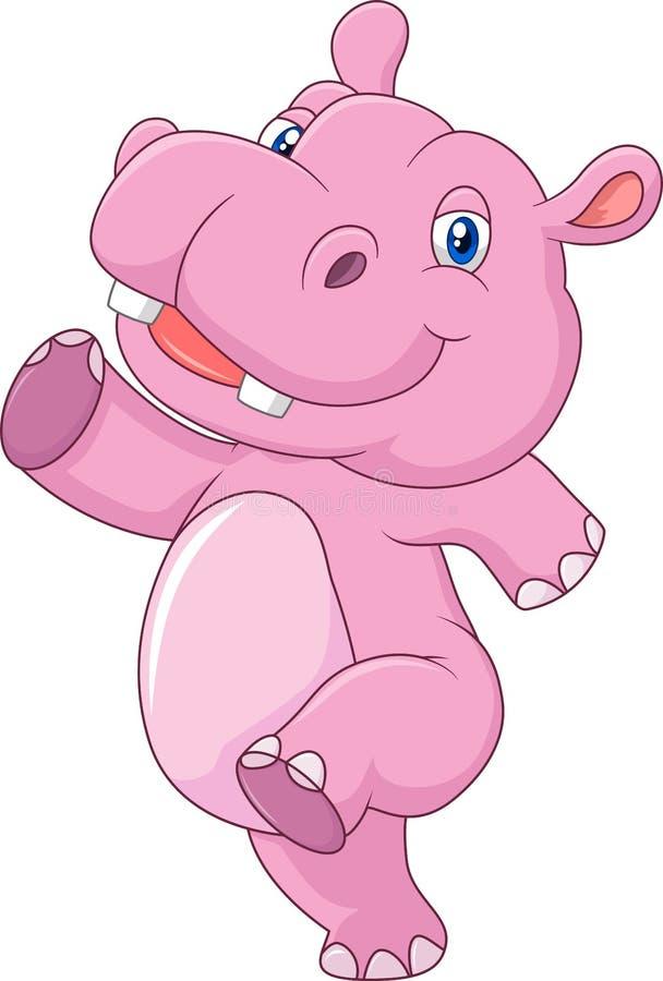 Funzionamento dell'ippopotamo del bambino del fumetto e felice svegli royalty illustrazione gratis