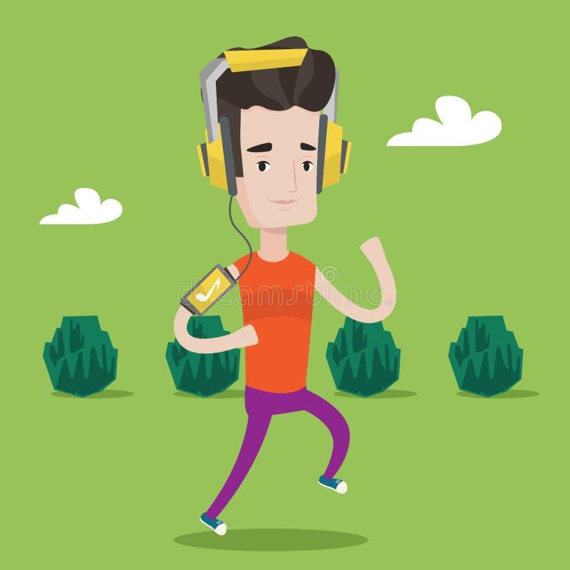 Funzionamento dell'uomo con le cuffie e lo smartphone royalty illustrazione gratis