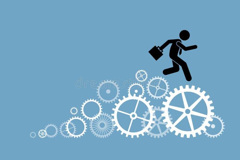 Funzionamento dell'uomo d'affari dell'uomo d'affari sulle ruote dentate illustrazione di stock