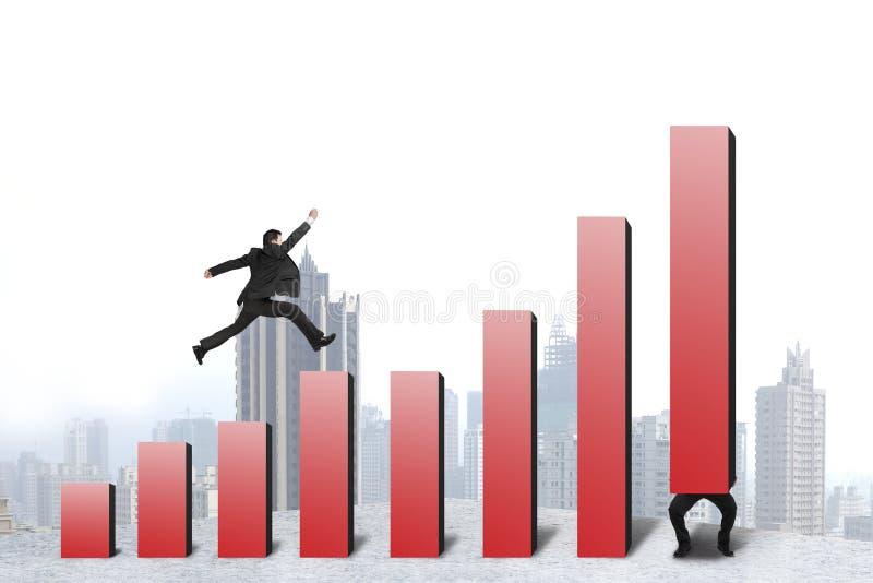 Funzionamento dell'uomo d'affari, saltante sull'istogramma rosso un'altra tenuta una illustrazione di stock