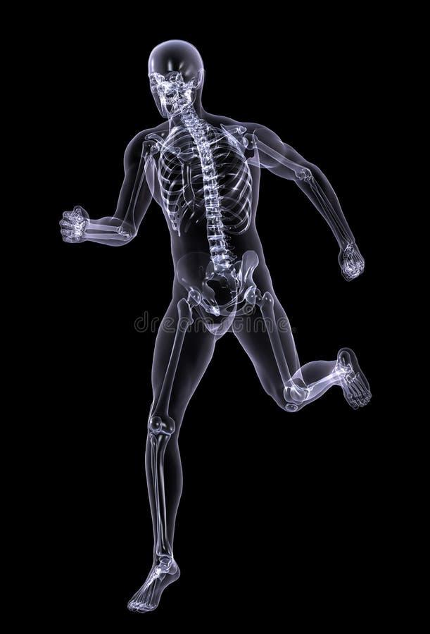 Funzionamento dell'uomo dei raggi X - con il percorso di residuo della potatura meccanica illustrazione di stock