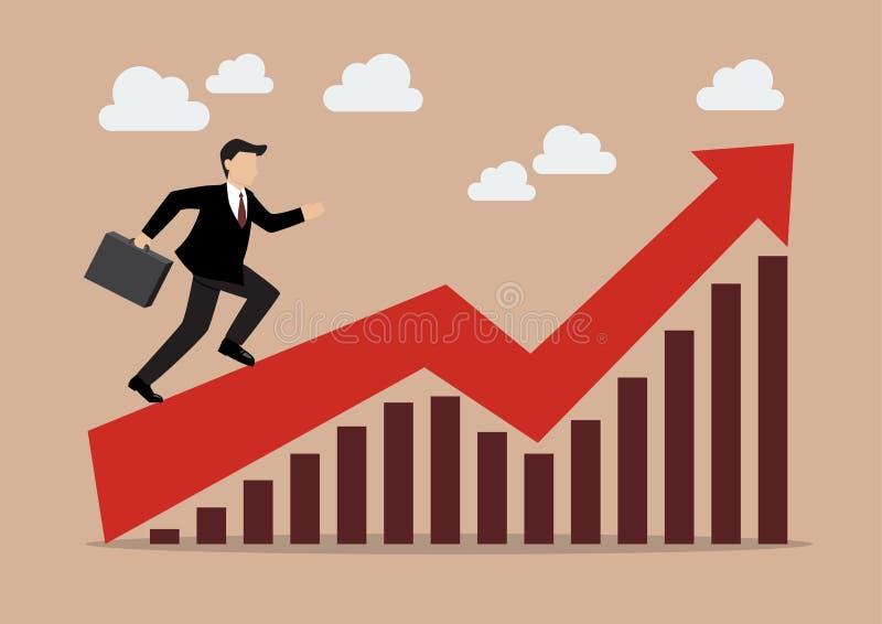 Funzionamento dell'uomo di affari sul grafico crescente illustrazione vettoriale