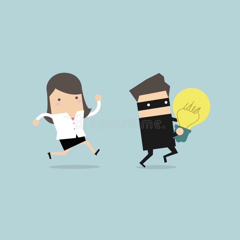 Funzionamento della donna di affari e ladro di inseguimento con un'idea rubata in mani illustrazione vettoriale