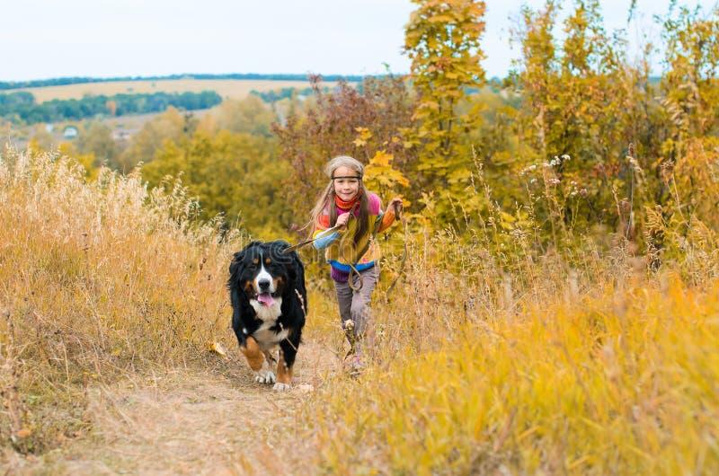 funzionamento della ragazza con il grande cane immagine stock