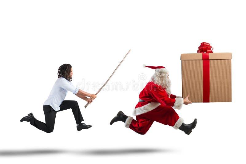 Funzionamento di Santa Claus fotografie stock