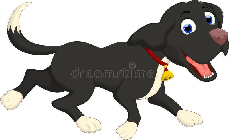 Funzionamento divertente del fumetto del cane nero illustrazione di stock