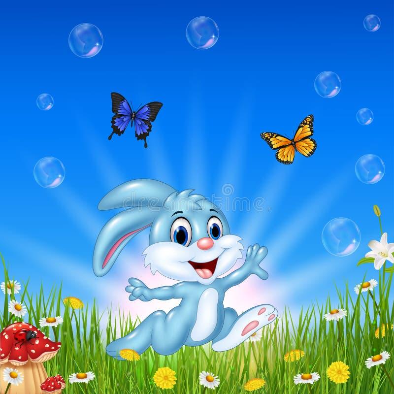 Funzionamento felice del coniglio del fumetto con il bello fondo della natura illustrazione vettoriale