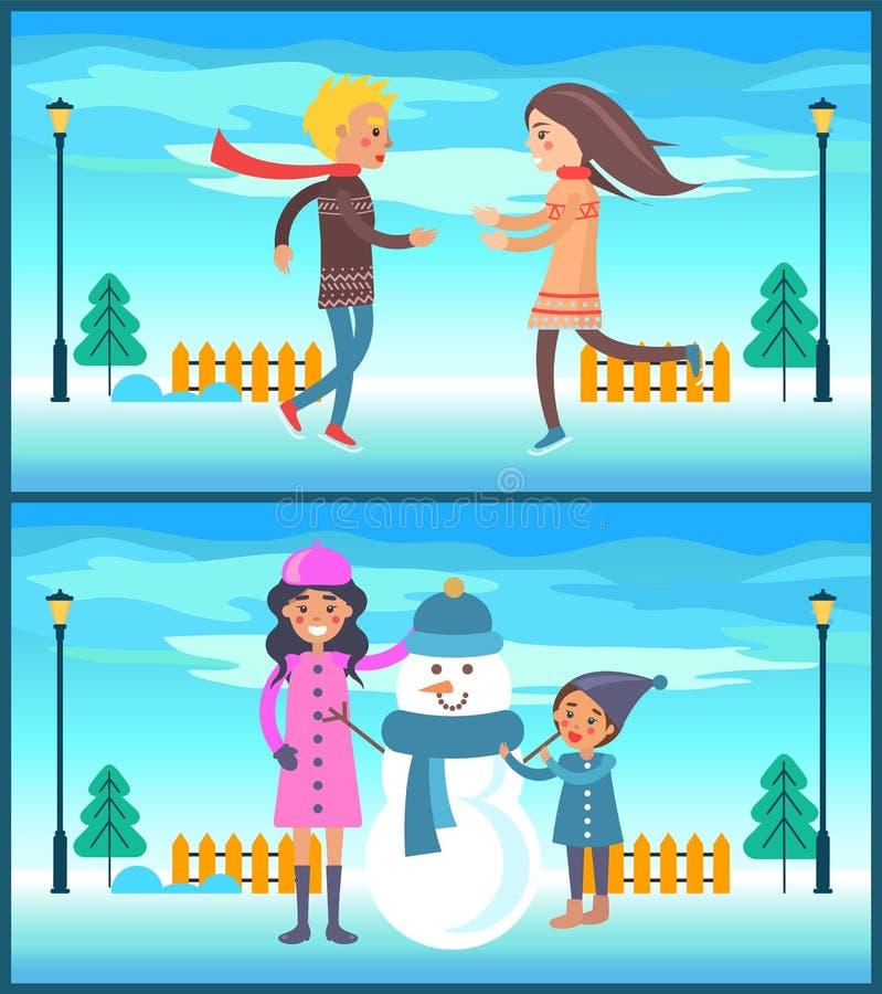 Funzionamento felice del ragazzo e della ragazza delle coppie, pupazzo di neve della madre illustrazione di stock