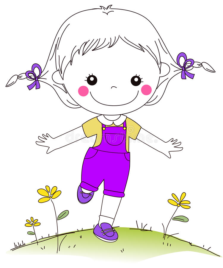 Funzionamento felice della bambina royalty illustrazione gratis