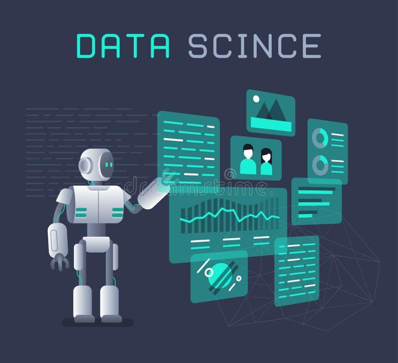 Funzionamento moderno del robot con l'illustrazione piana dei diagrammi a torta e dei grafici di dati di analisi dei dati illustrazione vettoriale