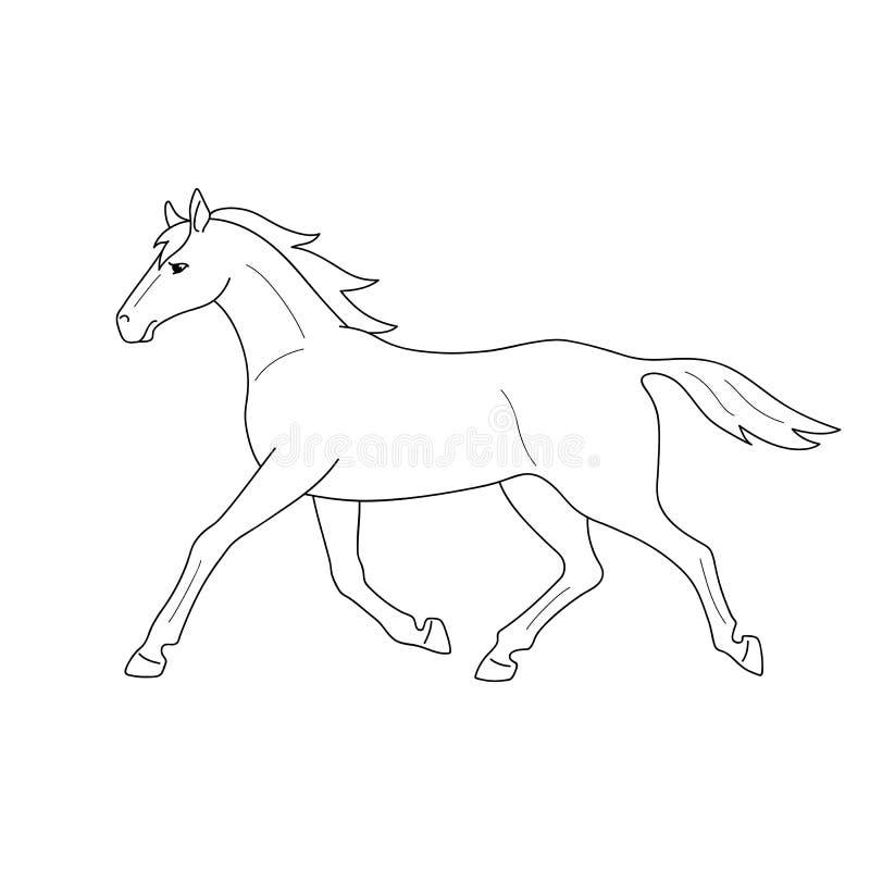 Funzionamento nero isolato del profilo, cavallo trottante su fondo bianco Vista laterale Linee della curva Pagina del libro da co