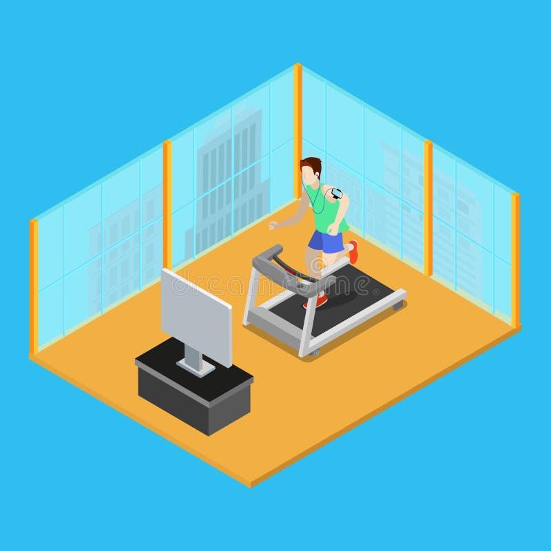 Funzionamento sportivo dell'uomo sulla pedana mobile a casa Gente isometrica Vettore illustrazione vettoriale