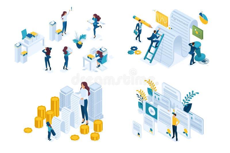 Funzionamento stabilito isometrico di concetto con i documenti, firmando un contratto, controllante i documenti Illustrazione mod illustrazione di stock