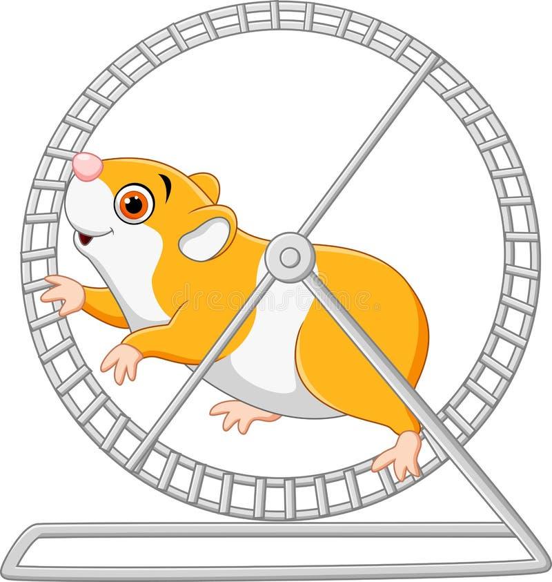 Funzionamento sveglio del criceto in ruota roling illustrazione di stock