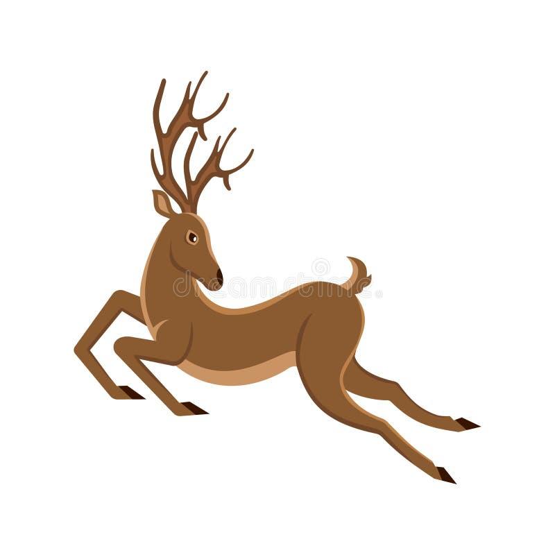 Funzionamento sveglio del fumetto dei cervi Muoversi della renna Saltare maschio illustrazione vettoriale