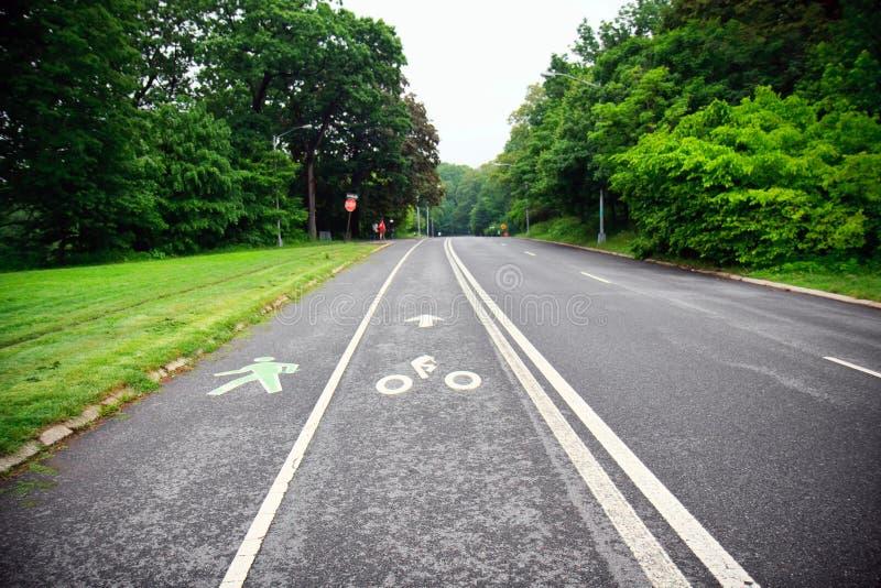 Funzionando e percorso della bicicletta nella sosta immagini stock libere da diritti