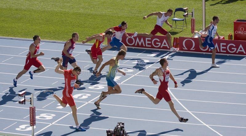 Funzionare degli atleti di Decathlon immagine stock libera da diritti