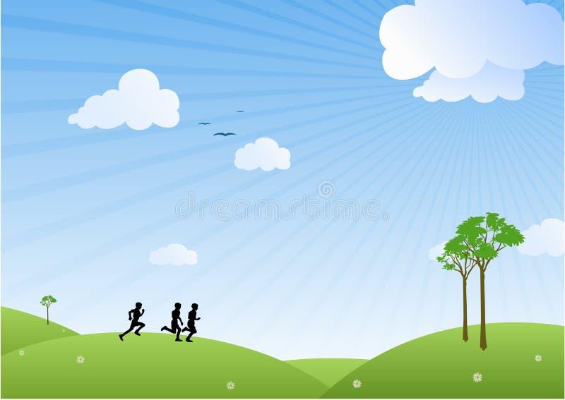 Funzionare dei tre ragazzi illustrazione vettoriale
