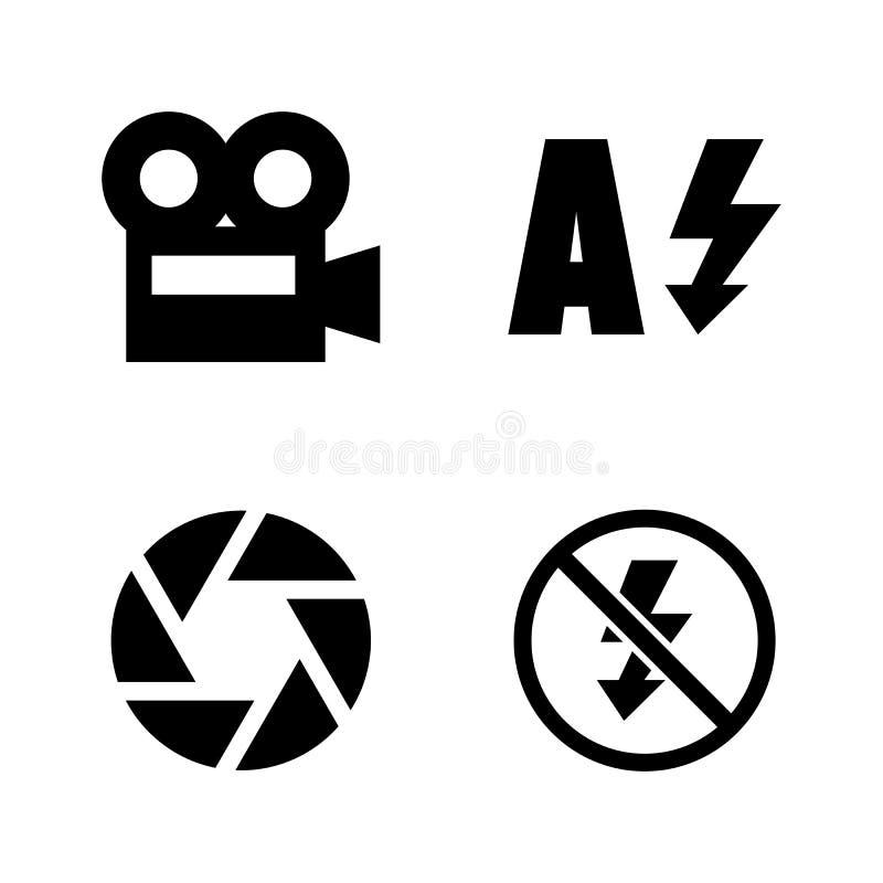 Funzioni della macchina fotografica, modo di menu Icone relative semplici di vettore illustrazione di stock