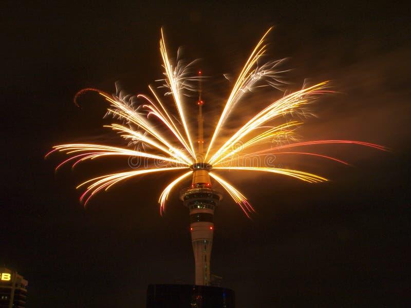 Fuochi d'artificio 2010 di Auckland immagine stock libera da diritti