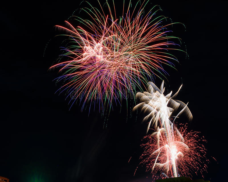 Fuochi d'artificio al partito finale II fotografia stock libera da diritti