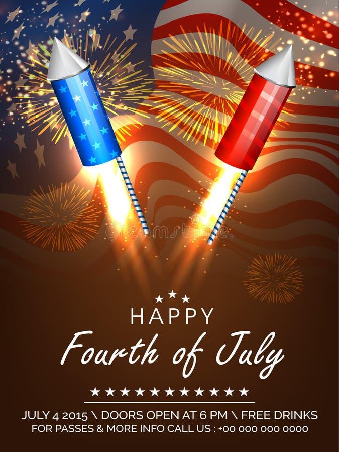Fuochi d'artificio americani di celebrazione di festa dell'indipendenza illustrazione di stock