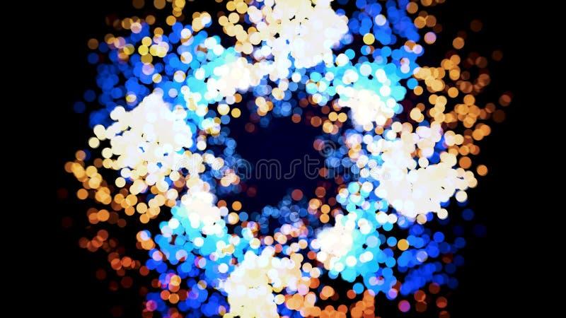 Fuochi d'artificio astratti del bokeh, bella piccola diffusione brillante e volo dei cerchi sul fondo nero, ciclo senza cuciture royalty illustrazione gratis