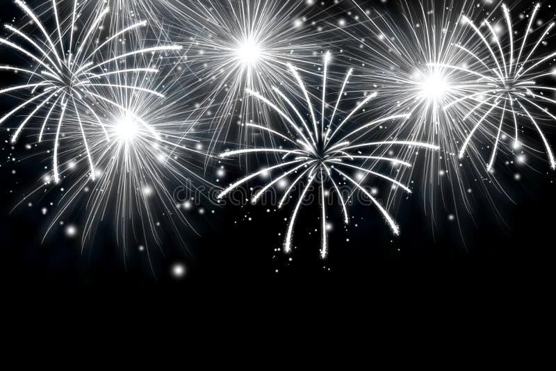 Fuochi d'artificio astratti su fondo scuro puro Effetto dei fuochi d'artificio delle scintille fotografie stock libere da diritti