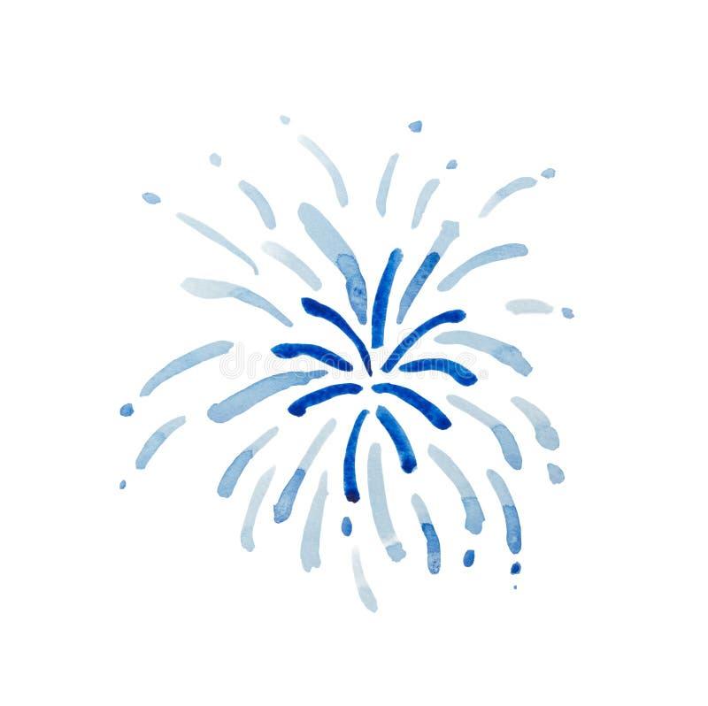 Fuochi d'artificio blu isolati su fondo bianco immagine stock libera da diritti