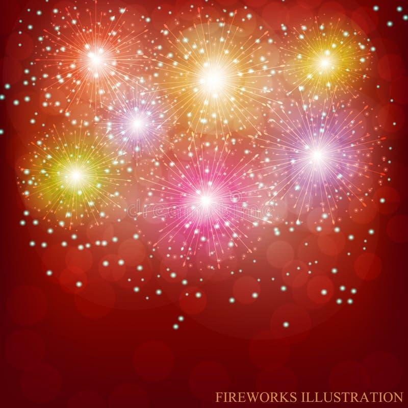 Fuochi d'artificio brillantemente variopinti Illustrazione di vettore immagine stock libera da diritti