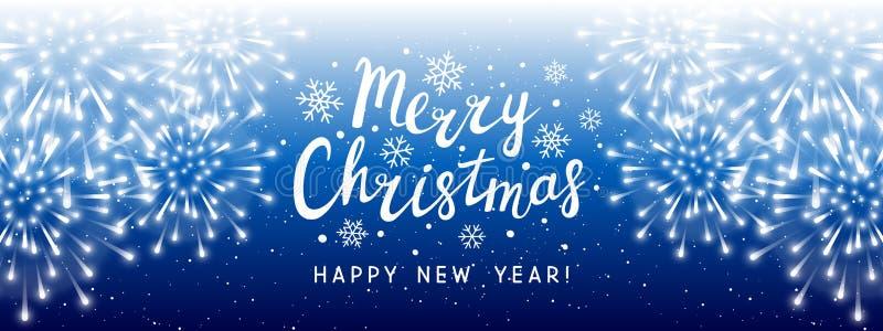 Fuochi d'artificio brillanti su fondo blu - insegna panoramica di orizzontale per progettazione di festa del nuovo anno e di Nata illustrazione vettoriale
