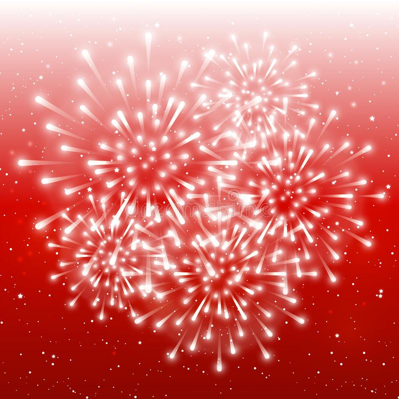 Fuochi d'artificio brillanti sul fondo stellato rosso del cielo per la vostra progettazione di Natale royalty illustrazione gratis