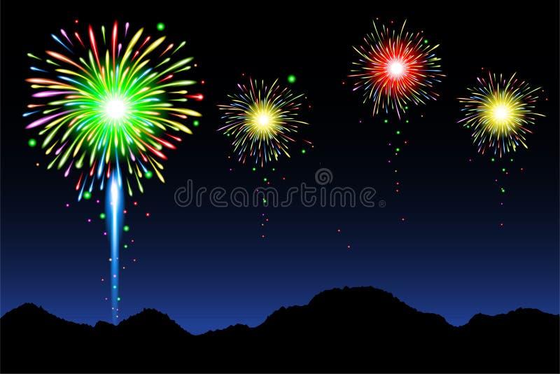 Fuochi d'artificio con la montagna royalty illustrazione gratis