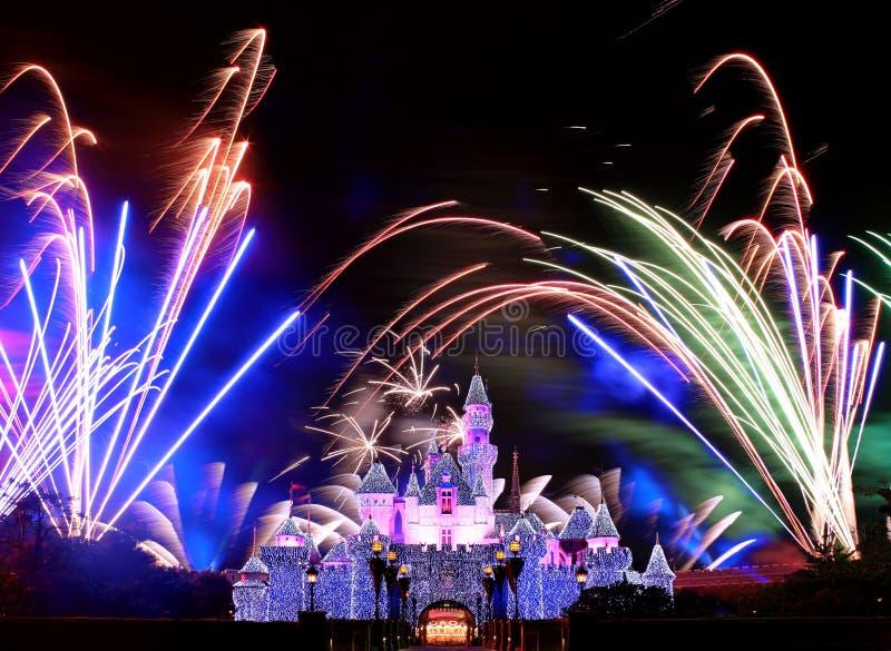 Fuochi d'artificio del Disneyland fotografie stock libere da diritti