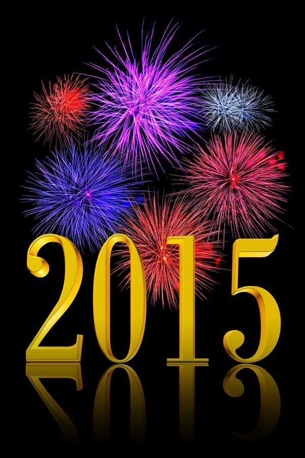 Fuochi d'artificio del nuovo anno 2015 illustrazione di stock